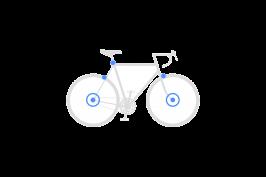 Set secures front wheel + rear wheel + seat post + brakes